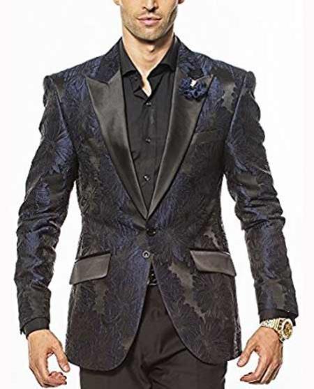 Fashion Unique Brand Men's Navy Slim Fit Satin Peak Custom