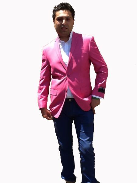 Mens Sport Coat / Dinner Jacket Cheap Fashion Hot Pink Fuchsia