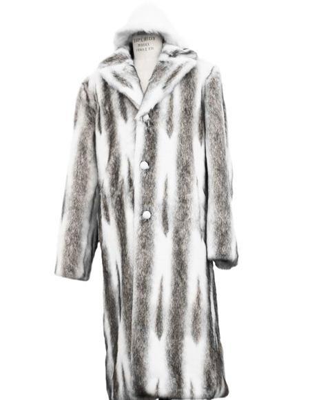 Mens Faux Fur Coat Full Length Overcoat Matching Hat Coffee
