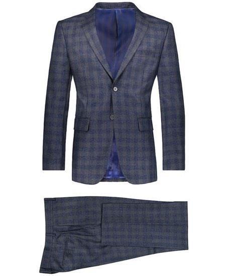 Mens Slim Fit Suit Window Pane ~ Plaid Suit  & Pants Dark Navy