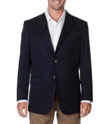Men's Two Button Wool Big & Tall Long Gabardine Blazer Navy