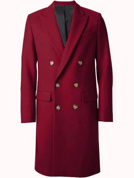 Mens Overcoat Double Breasted Top Coat ~ Wide Peak Lapel six buttons Burgundy Coat