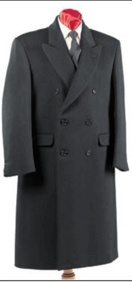 Double Breasted Mens Dress Coat Wool Blend  Overcoat Dark Grey - Ankle Length Coat