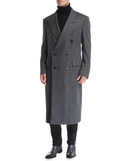 Mens Double-Breasted Notch Lapel Herringbone Top Coat Gray