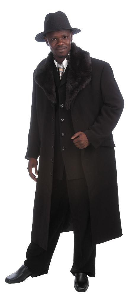 Men's Luxurious Long Maxi Coat Suit Black Fur Lapel