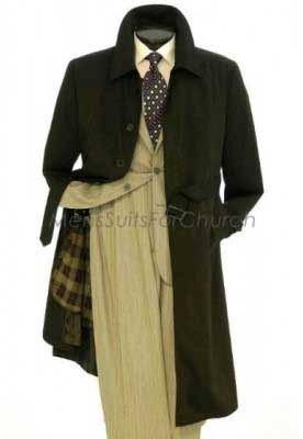 Belted Black trench coat mens full length Rain Coat