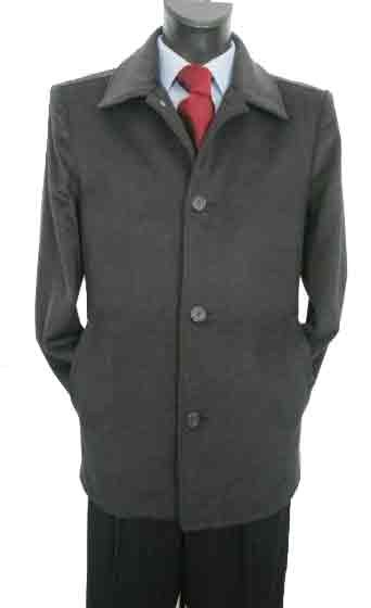 Valenti Designer Wool Single breasted Car Coat Charcoal