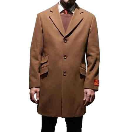 Chesnut brown Notch collar mens wool cashmere car coat