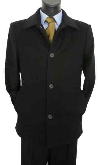 Valenti Designer Cashmere Single breasted Black Car Coat