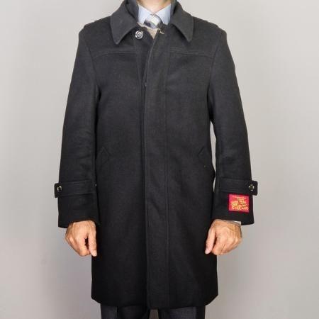 Black Wool/ Cashmere Blend Zipper closure fully lined coats
