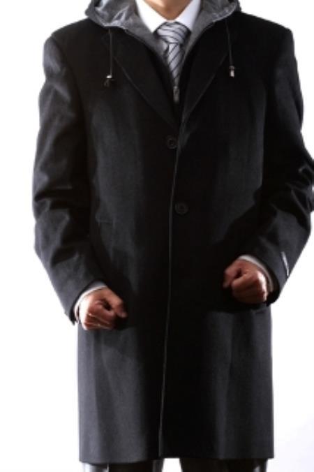 Hooded Dress Coat Wool Black ~ Charcoal Winter Coat Mens Topcoat