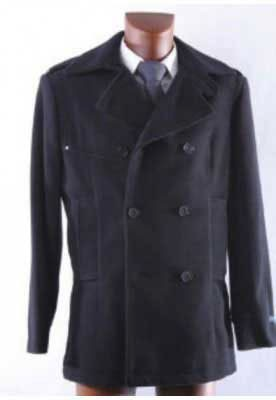 Black Trendy Double Breasted Winter Pea coat 100% Wool