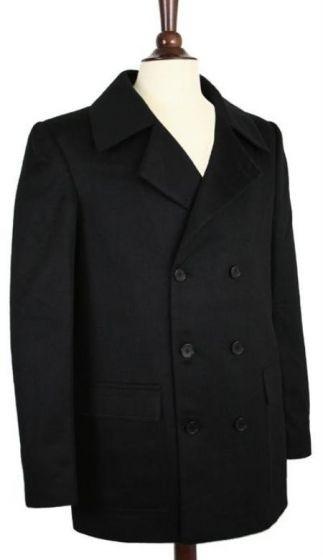 Wool pea coat Double Breasted Wrinkle-Resistant Broad Lapels