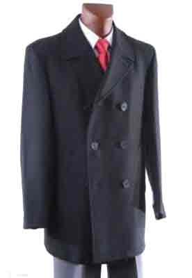 Double Breasted Luxury Wool Pea coat with metallic buttons