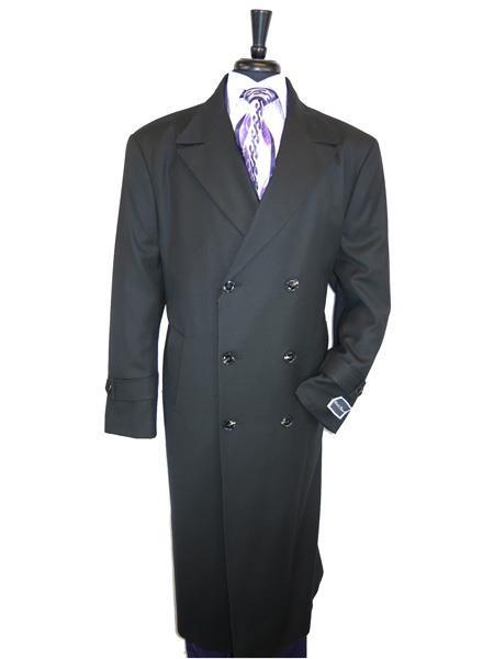 Mens Peak Lapel Wool Jet Black Overcoat  Double Breasted Top Coat