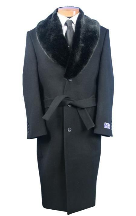 Blu Martini Grey Dress Coat Belted Full Length Wool mens fur collar overcoat