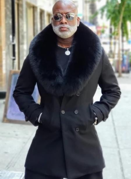 Peacoat Wool and Cashmere -  Fur Collars Mens Overcoat Black
