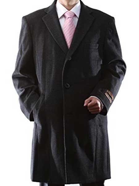 Length Charcoal Luxury Wool/Cashmere 3 Buttons Notch Lapel - Cashmere Topcoat - Mens Cashmere Overcoat - Cashmere Coat
