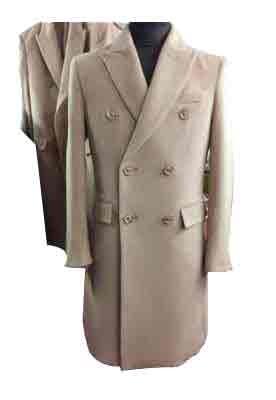 Double Breasted Peak Lapel 6 Buttons Beige mens long wool overcoat