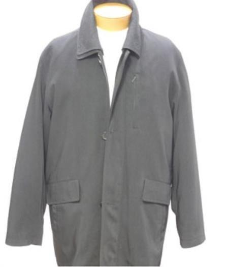 Black 3/4 Rain Coat with Two Slanted Side Hand Warmer Pockets