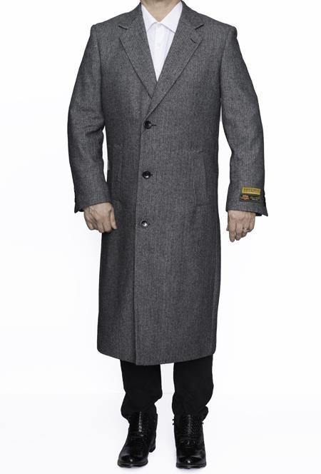Mens Full Length Wool in Herringbone grey topcoat