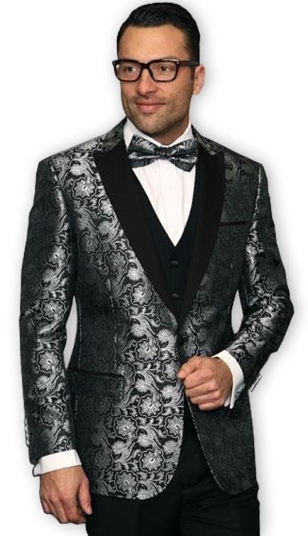 Mens Ash with Black Shiny Paisley Blazer Sport Coat
