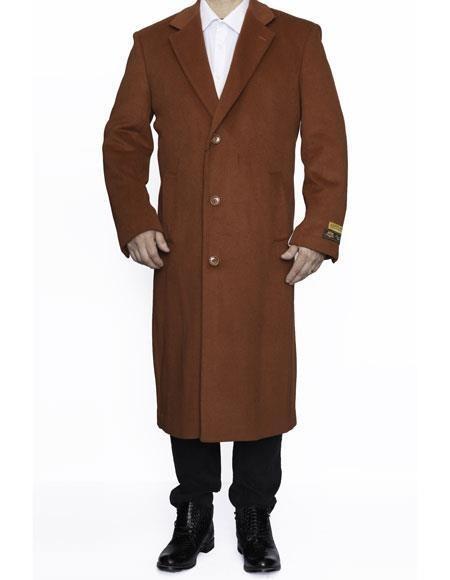 Mens Rust Big And Tall Trench Coat Overcoat / Topcoat