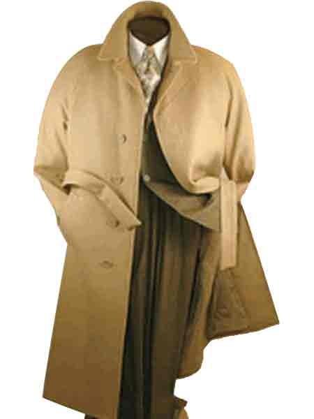 Mens Camel Belted Wool Top coats full length winter Overcoat