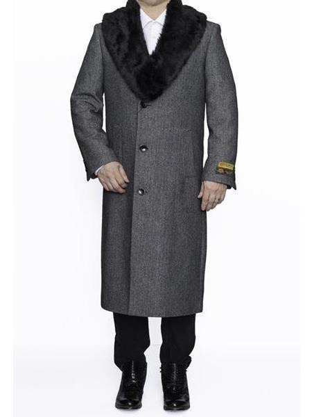 Mens Removable Fur Collar Full Length Wool Herringbone Grey Overcoat