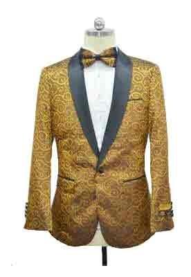 Gold Black Lapel Paisley Two toned Sport Coat