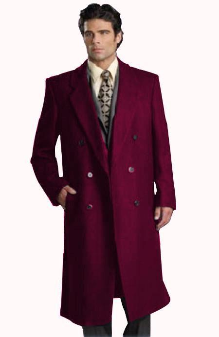 Mens Dark Burgundy Notch Lapel Long Mens Overcoat Double Breasted Top Coat