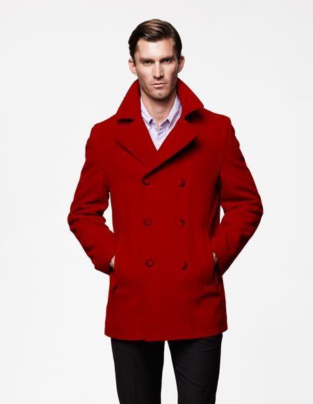 Dark Red Mens Peacoat Wool Double, Mens Chocolate Brown Pea Coat