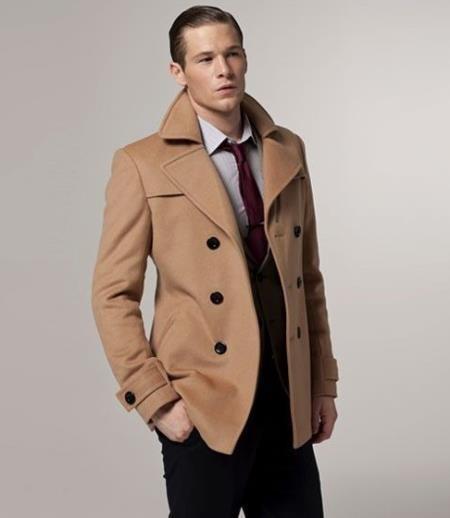 Khaki Wool Fabric Peacoat Mens, Mens Peacoat Slim Fit Tan