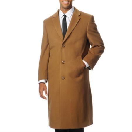 Back Vent 'Harvard' Camel ~ Khaki Cashmere Blend Long Top Coat