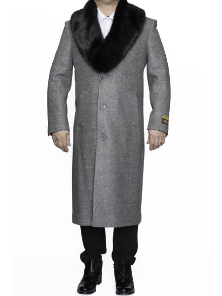 Removable Fur Collar Full Length Light Grey Wool Overcoat
