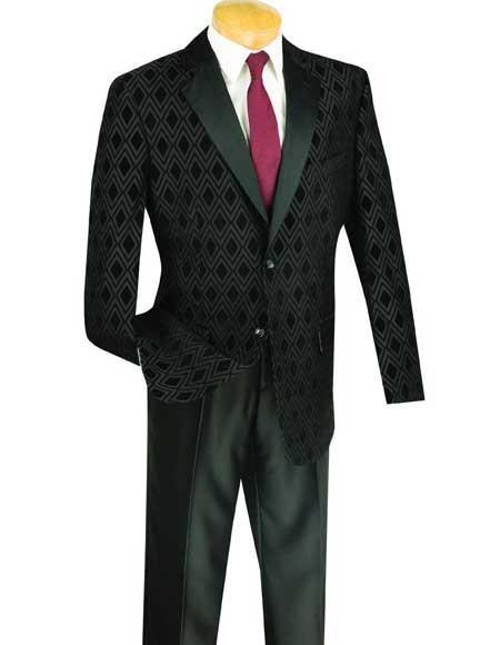 Mens Shawl Lapel Plaid Windowpane Sportcoat Black