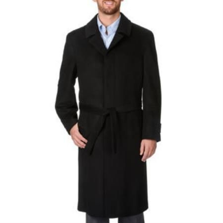 Belted 'Ronald' Black Wool And Cashmere Full-length Coat