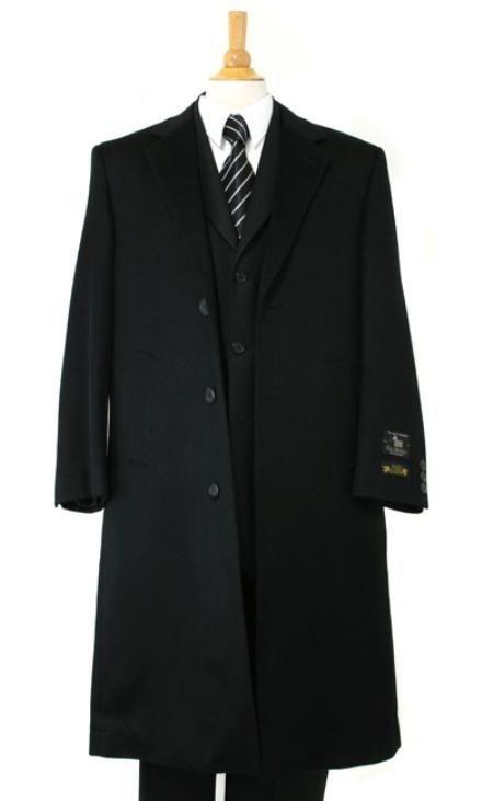 Harward Luxurious soft finest Wool Dress Coat Full Length Black Topcoats