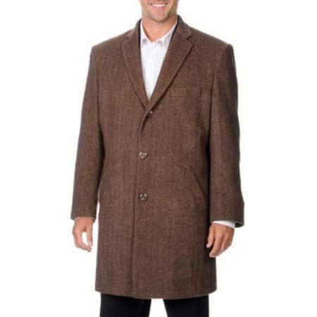 Herringbone Dress Coat 3 Button 'Ram' Light Brown Tweed Cashmere Blend Top Coat