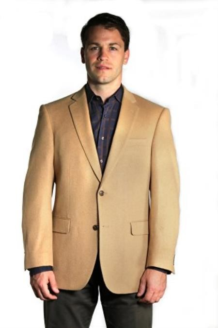 Mens Two button Extra Long Outerwear Coat Camel Overcoat