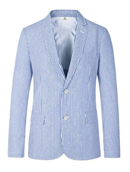 Mens Two Button Carolina Blue seersucker Sport Coat