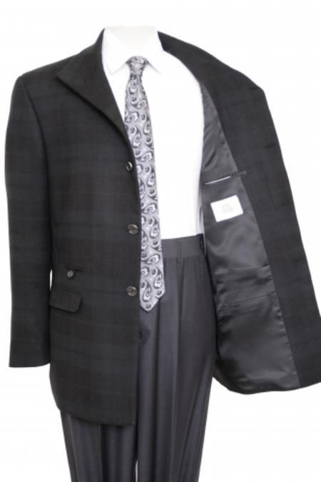 38 INCH 3 BUTTON NOTCHED LAPEL NAVY BLUE WOOL BLEND OVERCOAT
