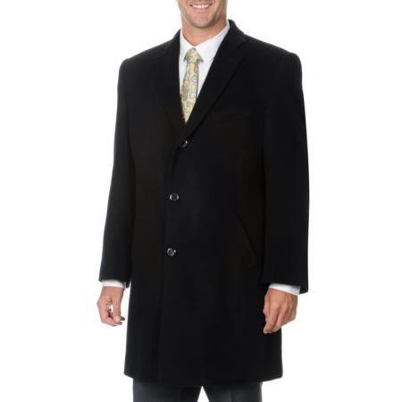 Back vent Hidden Packet 'Ram' Black Cashmere Blend Top Coat