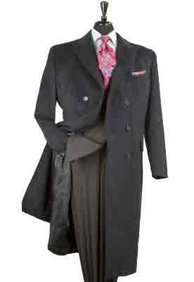 48 Inch double breasted Long Wool Blend mens winter pea coats Black