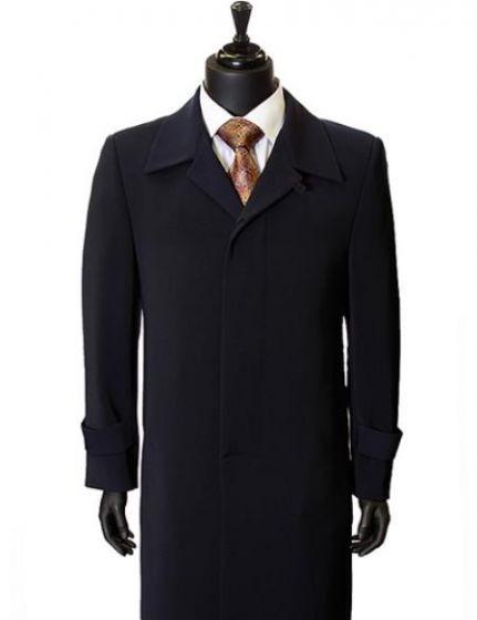 Maxi-Length Navy Trench Coat Dress Coat Mens Overcoat