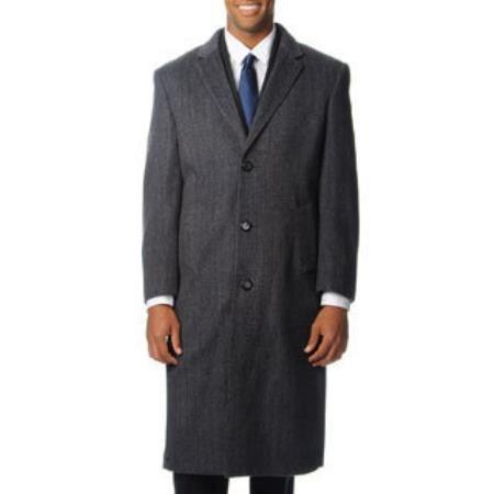 mens herringbone Dress Coat Long 'Harvard' Grey Tweed Cashmere Overcoat