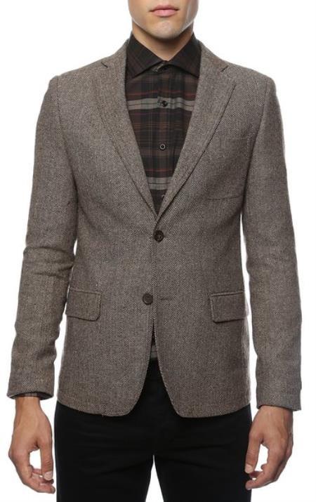 mens top coat slim fit Brown Herringbone Tweed Sport Coat