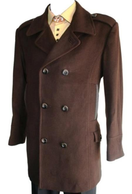 Double Breasted Long Length brown pea coat mens Wool Blend