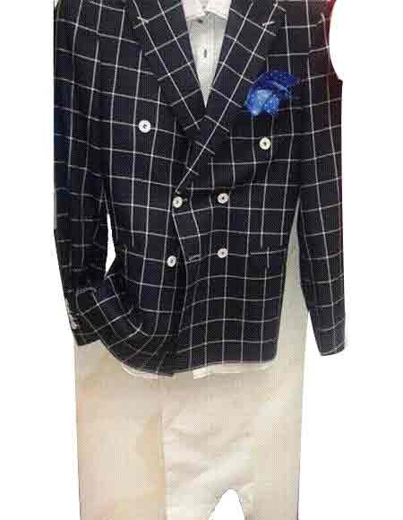 e50536e3 Black Wool Double breasted Plaid Windowpane Blazer Sport Coat