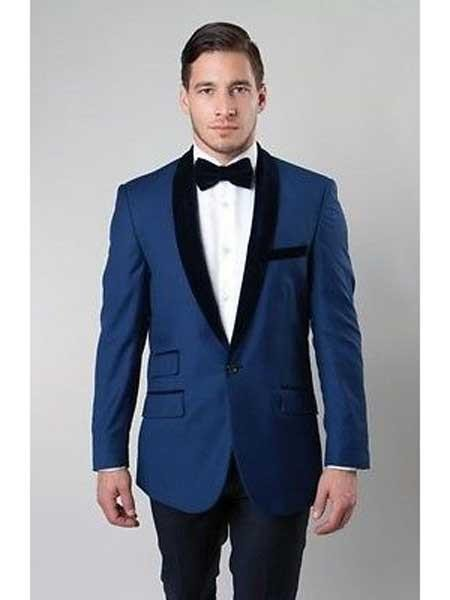 Deep Blue One Button Satin Shawl Collar Slim Fit Blazer